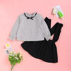 Сарафан-юбка и блуза в полоску для девочек Shein