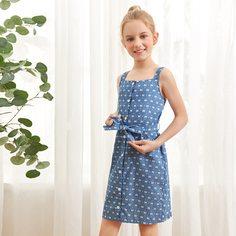 Джинсовое платье на бретельках с поясом и принтом банта для девочек Shein