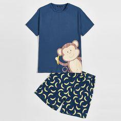 Мужская пижама с принтом обезьяны Shein