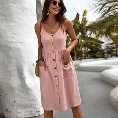 с карманами Одноцветный Повседневный Платье Shein