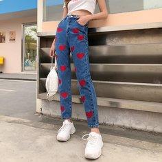 Прямые джинсы с вышивкой сердечка и высокой талией Shein