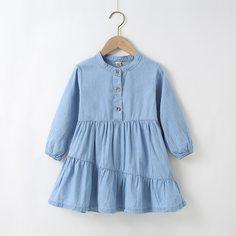 С оборками Одноцветный милый Джинсовые платья для девочек Shein