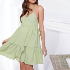Платье на бретелях с оборками для беременных Shein