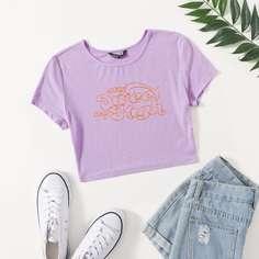 Вязаная футболка в рубчик с текстовым принтом Shein