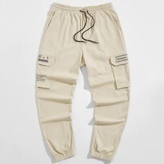 Мужские брюки с текстовым принтом и карманом Shein