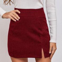 Однотонная юбка мини с разрезом Shein