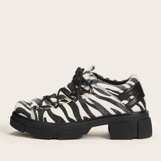 Оксфорды в полоску зебры на шнурках Shein