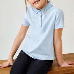 Однотонная футболка-поло для девочек Shein