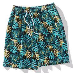 Мужские шорты на кулиске с тропическим принтом Shein