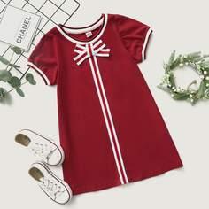 Платье-футболка с бантом для девочек Shein