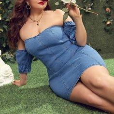 Одноцветный Бохо Джинсовые платья размер плюс Shein