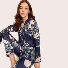 Атласный топ с графическим принтом и брюки пижама комплект Shein