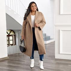 Одноцветный Элегантный Плюс размеры пальто Shein