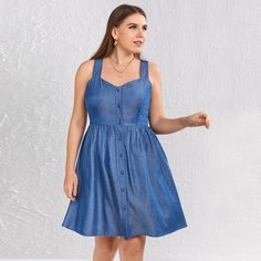 Пуговица Одноцветный Повседневный Джинсовые платья размер плюс Shein