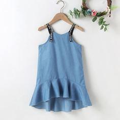 Джинсовое платье с текстовой лентой для девочек Shein