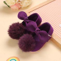 Туфли на плоской подошве с помпонами и бантами для девочек Shein