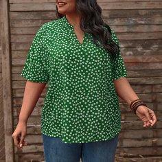Блузка размера плюс с цветочным принтом Shein