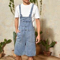 Мужской джинсовый комбинезон с карманом Shein