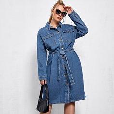 Джинсовое платье размера плюс с поясом Shein