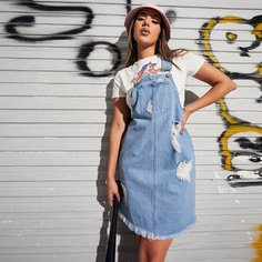 Джинсовое платье с карманом без топа Shein