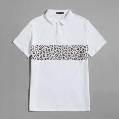 Пуговица Леопардовый Повседневный Мужская рубашка-поло Shein