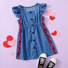 с оборками буква милый Джинсовые платья для девочек Shein