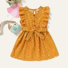 Платье с принтом и поясом для девочек Shein