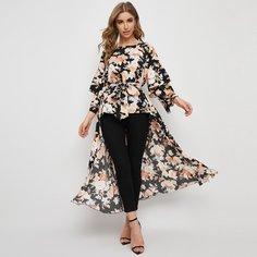 Пояс Цветочный Повседневный Блузы Shein