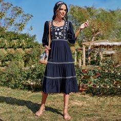 с вышивкой Цветочный принт Бохо Платье Shein