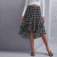 Асимметричная юбка с цветочным принтом Shein