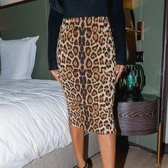 Леопардовый Элегантный Юбки Shein