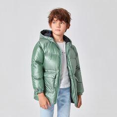 на молнии Одноцветный Повседневный Пальто для мальчиков Shein