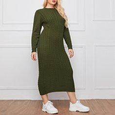 Однотонное вязаное платье-свитер размера плюс Shein