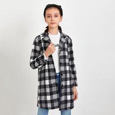 Пальто в клетку с пуговицами для девочек Shein