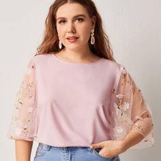 Блузка размера плюс с сетчатым рукавом Shein