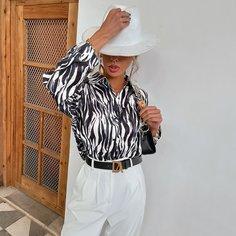 Пуговица в полоску зебры Повседневный Блузы Shein
