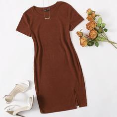 Вязаное облегающее платье в рубчик с разрезом Shein