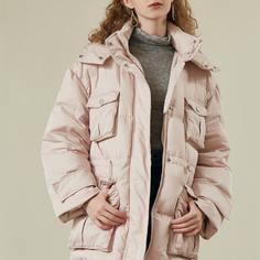 Пуховое пальто с капюшоном и карманом Shein