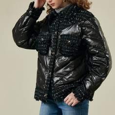 Пуховое пальто с карманом и твидовой отделкой Shein