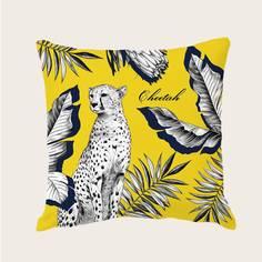 Чехол для подушки с принтом леопарда без наполнителя Shein