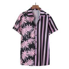 Мужская рубашка с тропическим принтом и полосками Shein