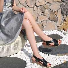 С открытой пяткой Одноцветный Модный Туфли на танкетке Shein