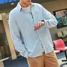 Мужская рубашка на пуговицах с карманом Shein