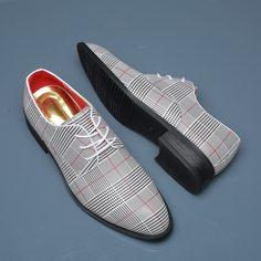 Мужские классические туфли в клетку на шнурке Shein