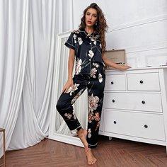 Контрастная отделка Цветочный принт Элегантный Комплект пижамы Shein