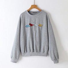 Пуловер с заплатой динозавра Shein