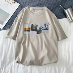 Мужская футболка с коротким рукавом с графическим принтом Shein