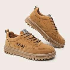 Мужские официальные туфли на шнурках с текстовой заплатой Shein
