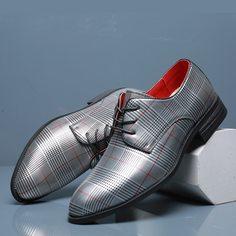 Мужские официальные туфли на шнурках в клетку Shein