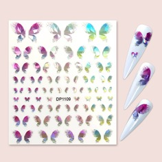 1 лист наклейка для ногтей с узором бабочки Shein